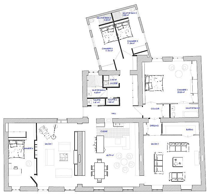 Architecture d'intérieur et rénovation d'un appartement familial à Lyon